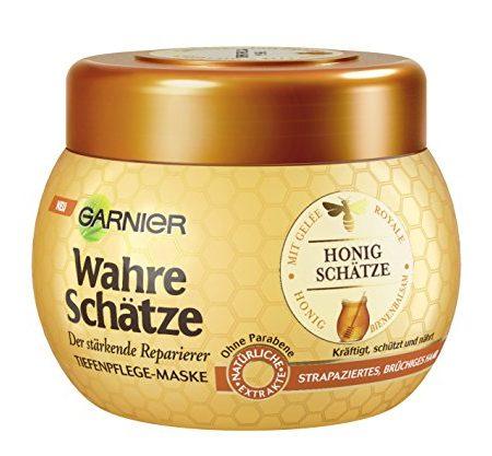 Garnier-Wahre-Schtze-Haar-Maske-Haarkur-fr-intensive-Haarpflege-Bewahrt-den-Farbglanz-mit-Gele-Royale-Bienenbalsam-Honig-fr-brchiges-strapziertes-Haar-1-x-300-ml-0