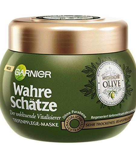 Garnier-Wahre-Schtze-Haar-Maske-Haarkur-fr-intensive-Haarpflege-Wirkt-Vitalisierend-mit-Vitamin-E-aus-nativem-Olivenl-fr-sehr-trockenes-beanspruchtes-Haar-1-x-300-ml-0